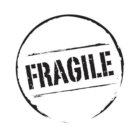 Zwarte grunge stempel en tekst FRAGILE Stock Illustratie