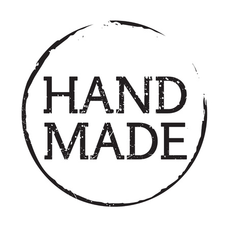 hand made: Black grunge stamp and text HAND MADE