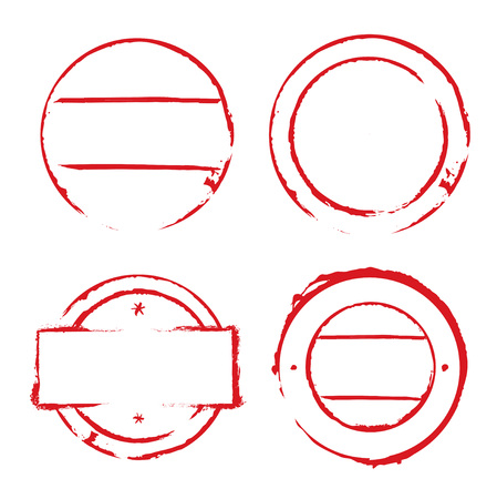 cute text box: Set of red empty stamps. Illustration