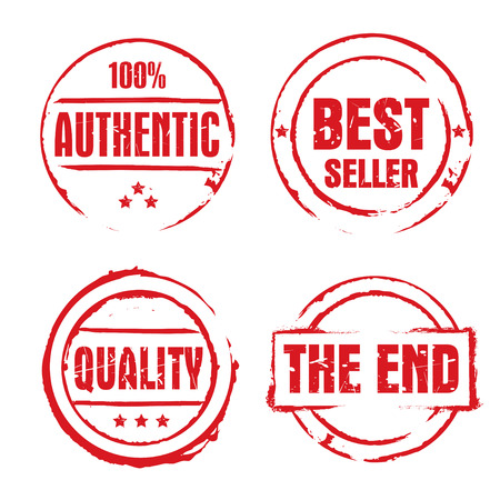 cute text box: Set of red stamps, AUTHENTIC, BEST SELLER, THE END QUALITY Illustration