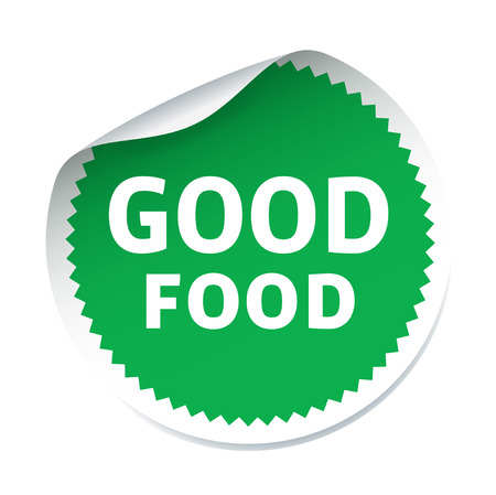 good food: Green vector sticker GOOD FOOD Illustration