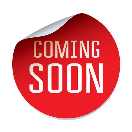 Red vector sticker comming SOON Stock Illustratie