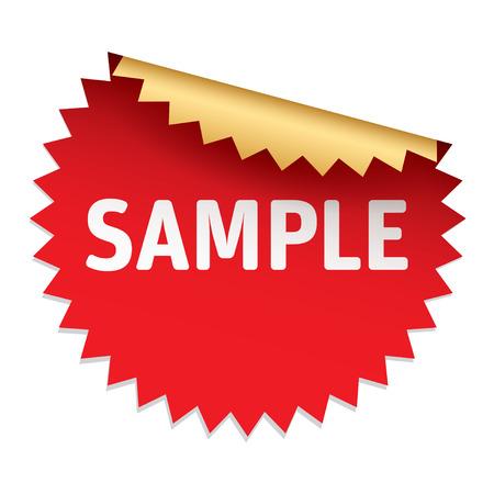 Red vector sticker SAMPLE