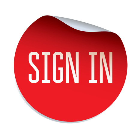 em: Red vector sticker SIGN IN