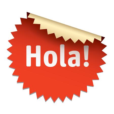 hola: Red vector sticker HOLA Illustration