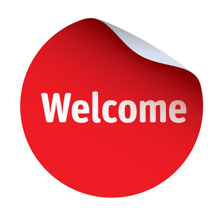 Red vector sticker WELCOME Ilustrace