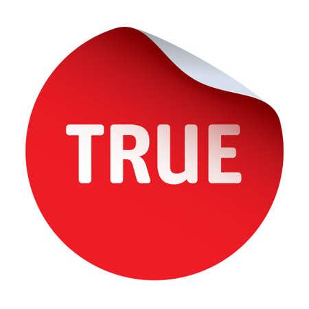 true: Red vector sticker TRUE