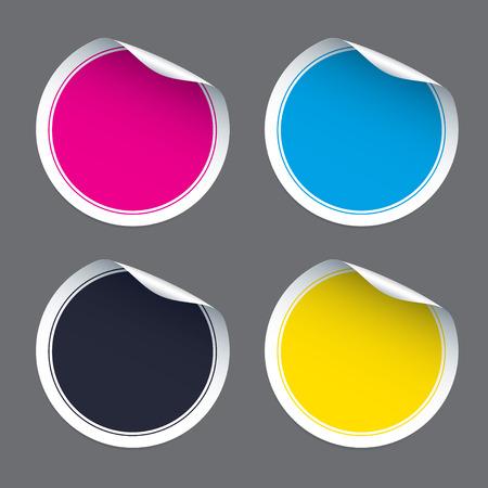 peeling corner: Set of color Stickers. Vector Illustrations. Illustration