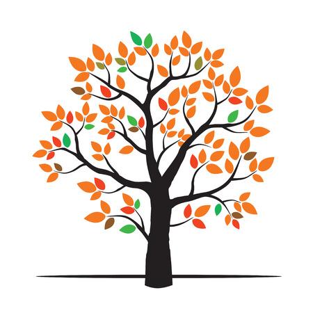autumn tree: Autumn Tree And Color Leafs. Vector Illustration. Illustration