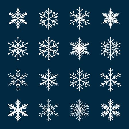 ilustracion: Collection Of White Snowflakes. Graphic Element and Icon.