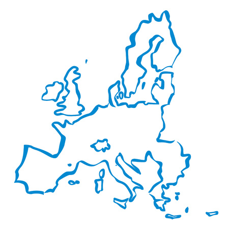 Blue drawing maps of the European Union. Vector Ilustration. Stock Illustratie