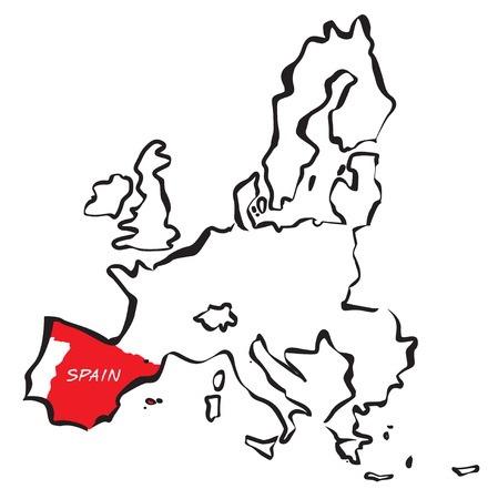 Drawing maps of the European Union and Red Spain. Stock Illustratie