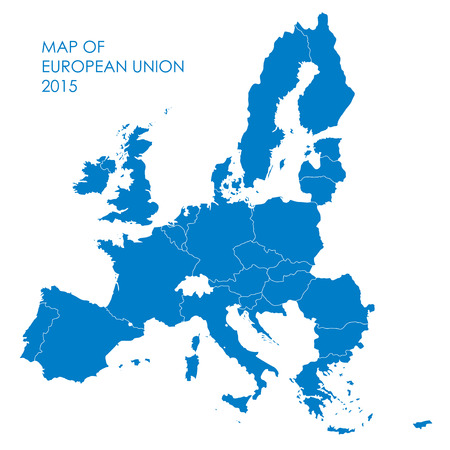 european union: Blue Map of the European Union. Country borders.