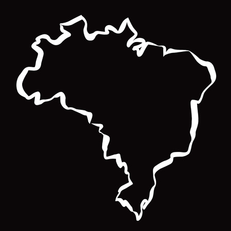 latin americans: White drawing Map of Brazil. Illustration