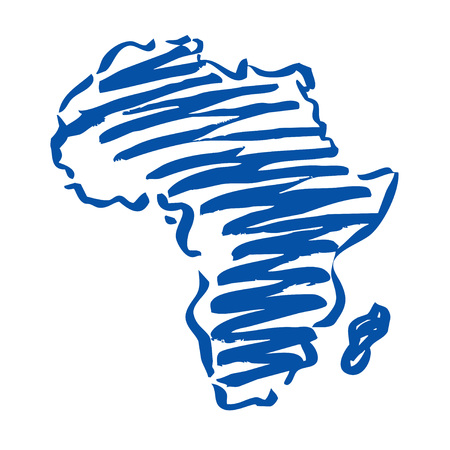 south pacific ocean: Blue drawng Map of Africa