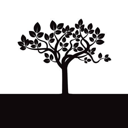 leafs: Black tree and Leafs Illustration