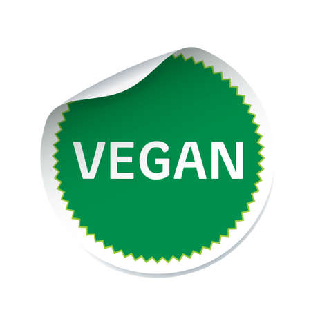 rounded: Green sticker and text VEGAN
