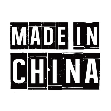 made in china: Black stamp and text MADE IN CHINA. Vector Illustration. Illustration