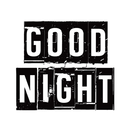 Black stamp and text GOOD NIGHT. Vector Illustration.
