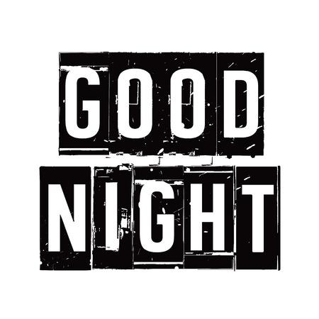 buonanotte: Timbro nero e testo BUONA NOTTE. Illustrazione vettoriale. Vettoriali