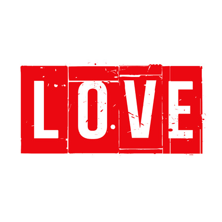love stamp: Red stamp and text LOVE. Vector Illustration.