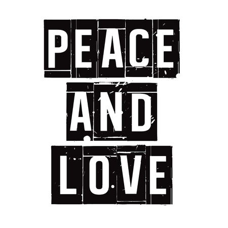peace stamp: Black stamp and text Peace and Love. Vector Illustration. Illustration