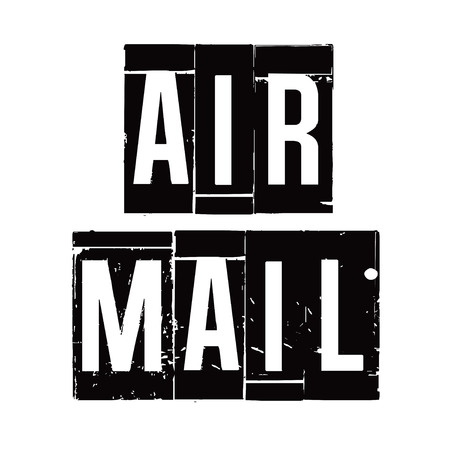 air mail: Black stamp and text AIR MAIL. Vector Illustration.