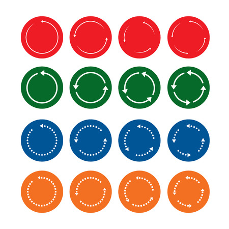 turning point: Set of color vector arrows and buttons.