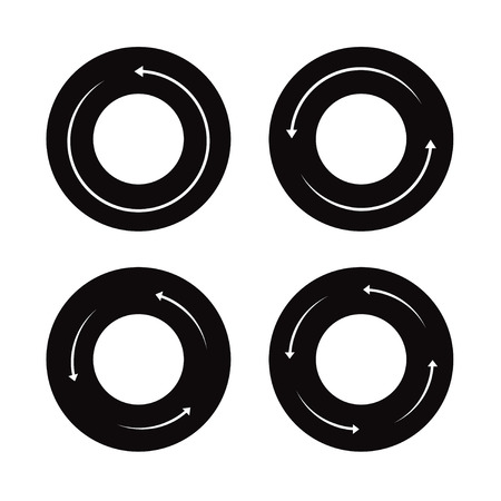 turning point: Set of black arrows and Vector buttons. Illustration