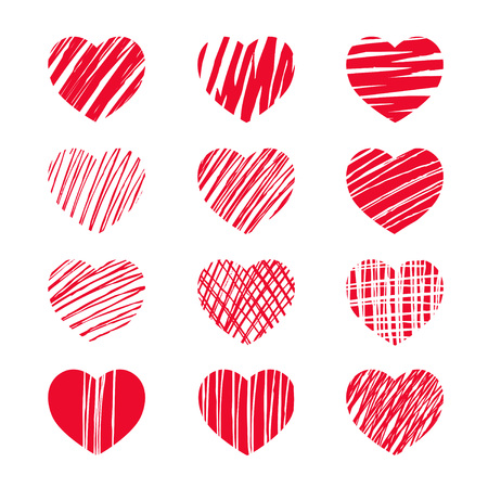 valentin's: Set of red vector heart icons.