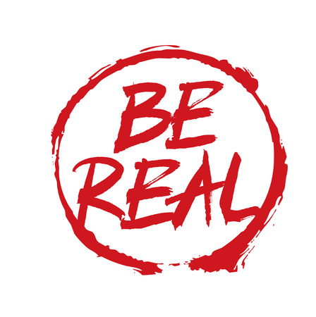 Red Vector Drawing Stamp text BE REAL