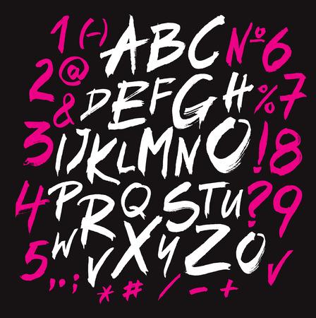 abecedario graffiti: Dibujo de la mano de la fuente en el fondo Negro Vectores