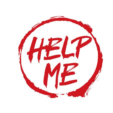 help me: Red Vector Drawing Stamp HELP ME