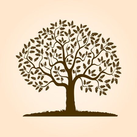 Brown shape of tree. Vector Illustration.