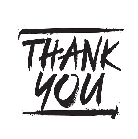 te negro: Hand drawing text THANK YOU. Vector Illustration.