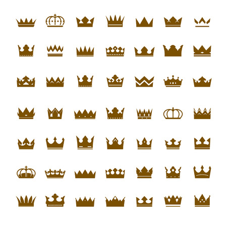 nobleman: Set of Vector Golden Crowns. Collection of Icons.