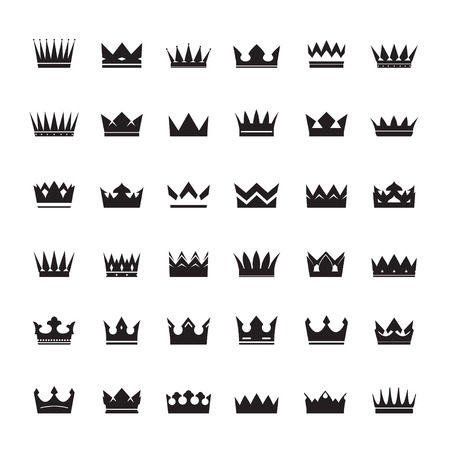 nobleman: Set of Black Crowns. Collection of Icons.