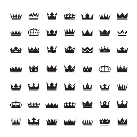 aristocracy: Set of Black Crowns. Collection of Icons.