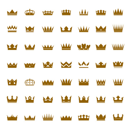 aristocracy: Set of Vector Golden Crowns. Collection of Icons.