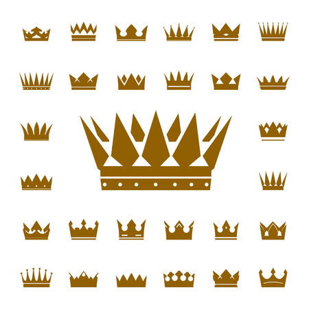 coronation: Set of Vector Golden Crowns. Collection of Icons.