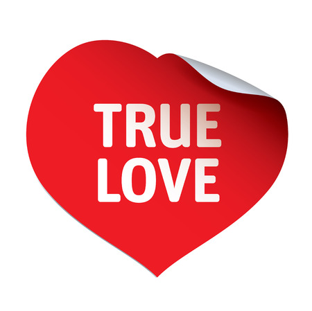 with true love: Red Heart Sticker and TRUE LOVE