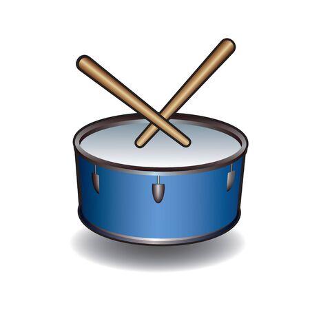 eardrum: Blue Vector Drum Icon. Illustration.