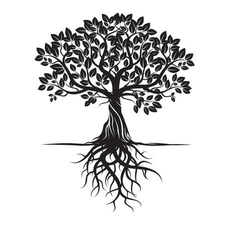 Árbol y raíces Negro. Ilustración del vector. Ilustración de vector