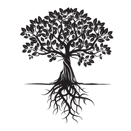 Black Tree and Roots. Vector Illustration. Stock Illustratie