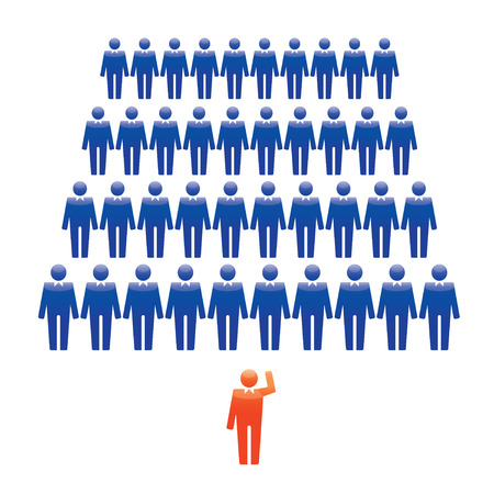 work force: Group of People and the Leader. Vector Illustration.