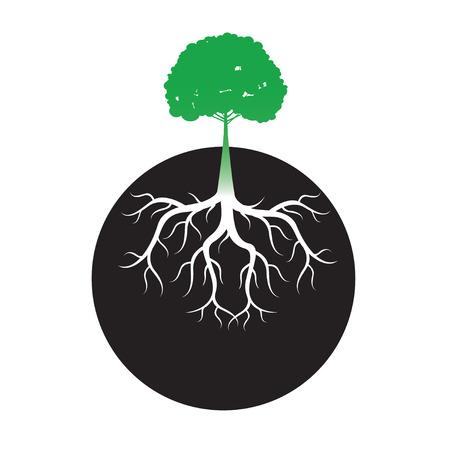 Raíces de los árboles verdes y fondo. Ilustración del vector.