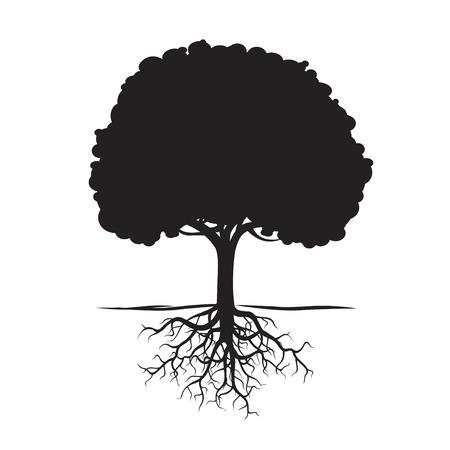 黒い木の根と背景。ベクトルの図。