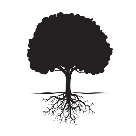 Black Tree Roots and background. Vector Illustration. Stock Illustratie