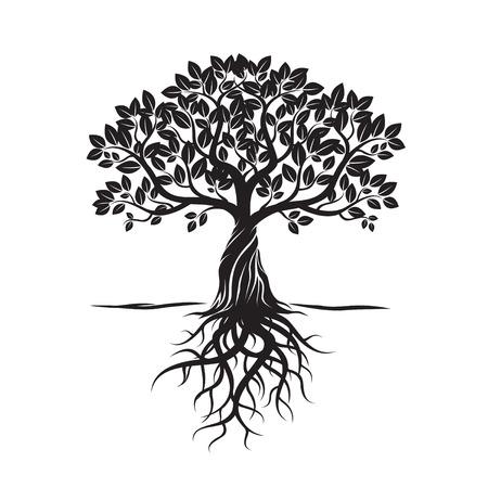 木、葉、根、背景を黒します。ベクトルの図。