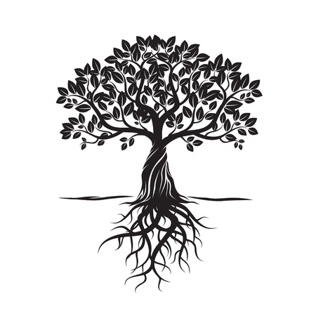 Black Tree, Leafs, Roots and background. Vector Illustration. Illustration